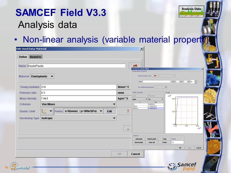 Non-linear analysis (variable material property) SAMCEF Field V3.3 Analysis data