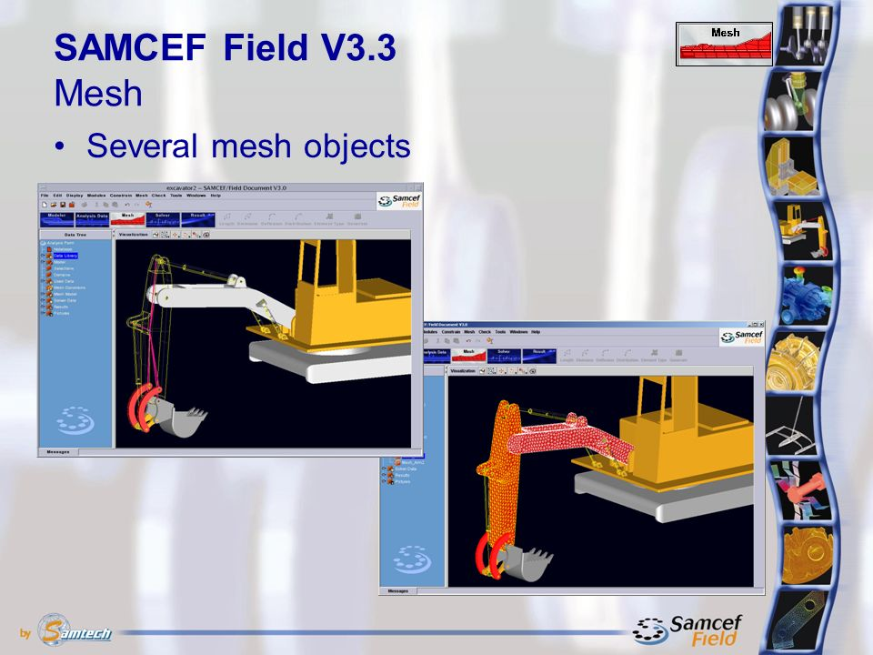 Several mesh objects SAMCEF Field V3.3 Mesh