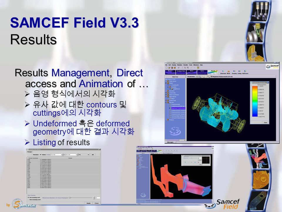 Results Management, Direct access and Animation of …  음영 형식에서의 시각화  유사 값에 대한 contours 및 cuttings 에의 시각화  Undeformed 혹은 deformed geometry 에 대한 결과 시각화  Listing of results SAMCEF Field V3.3 Results