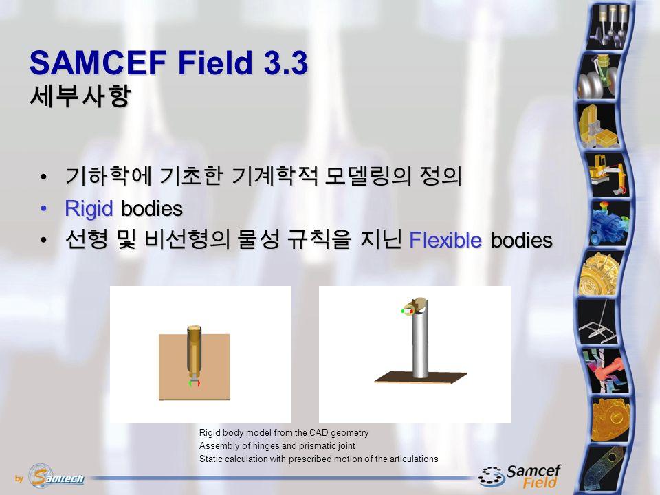 기하학에 기초한 기계학적 모델링의 정의 기하학에 기초한 기계학적 모델링의 정의 Rigid bodiesRigid bodies 선형 및 비선형의 물성 규칙을 지닌 Flexible bodies 선형 및 비선형의 물성 규칙을 지닌 Flexible bodies SAMCEF Field 3.3 세부사항 Rigid body model from the CAD geometry Assembly of hinges and prismatic joint Static calculation with prescribed motion of the articulations
