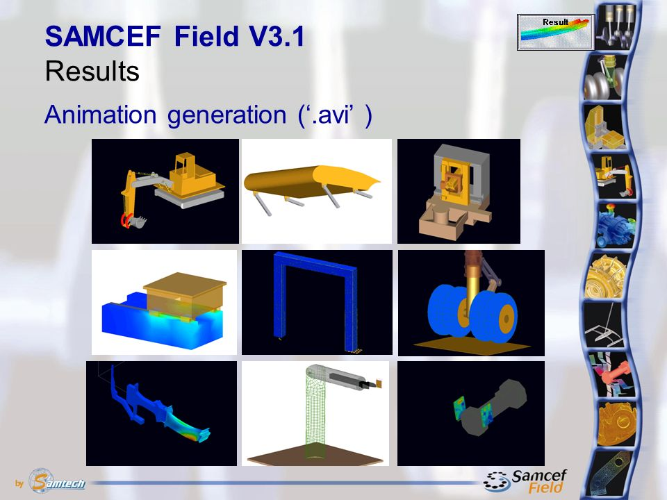 Animation generation ('.avi' ) SAMCEF Field V3.1 Results
