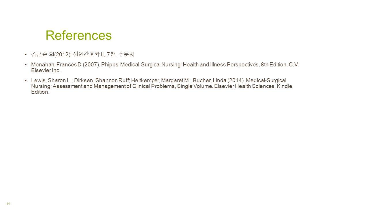References 14 김금순 외 (2012). 성인간호학 II, 7 판. 수문사 Monahan, Frances D (2007).