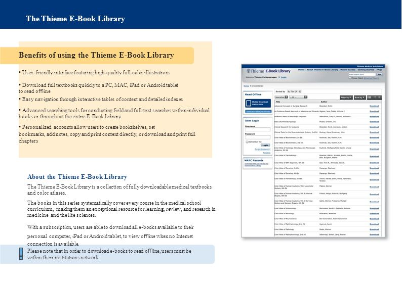 The Thieme E-Book Library About the Thieme E-Book Library The Thieme E-Book Library is a collection of fully downloadable medical textbooks and color atlases.