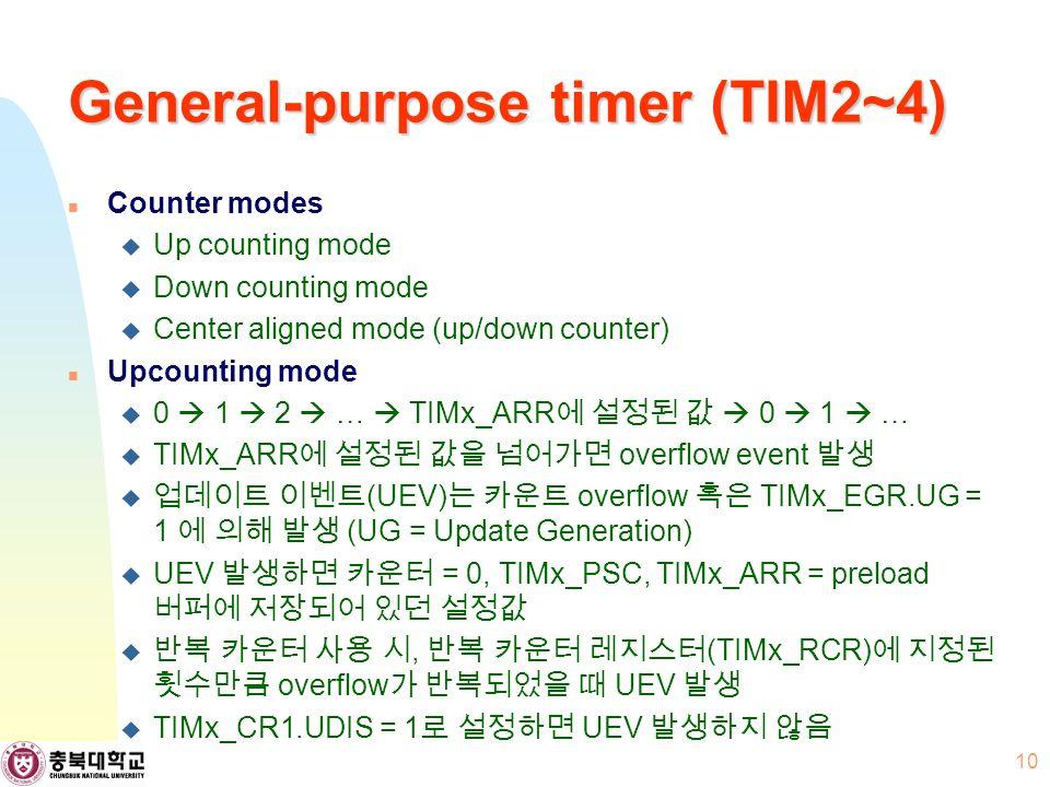 General-purpose timer (TIM2~4) Counter modes  Up counting mode  Down counting mode  Center aligned mode (up/down counter) Upcounting mode  0  1  2  …  TIMx_ARR 에 설정된 값  0  1  …  TIMx_ARR 에 설정된 값을 넘어가면 overflow event 발생  업데이트 이벤트 (UEV) 는 카운트 overflow 혹은 TIMx_EGR.UG = 1 에 의해 발생 (UG = Update Generation)  UEV 발생하면 카운터 = 0, TIMx_PSC, TIMx_ARR = preload 버퍼에 저장되어 있던 설정값  반복 카운터 사용 시, 반복 카운터 레지스터 (TIMx_RCR) 에 지정된 횟수만큼 overflow 가 반복되었을 때 UEV 발생  TIMx_CR1.UDIS = 1 로 설정하면 UEV 발생하지 않음 10