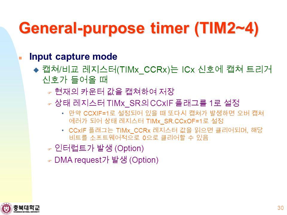 General-purpose timer (TIM2~4) Input capture mode  캡쳐 / 비교 레지스터 (TIMx_CCRx) 는 ICx 신호에 캡쳐 트리거 신호가 들어올 때  현재의 카운터 값을 캡쳐하여 저장  상태 레지스터 TIMx_SR 의 CCxIF 플래그를 1 로 설정 만약 CCXIF=1 로 설정되어 있을 때 또다시 캡쳐가 발생하면 오버 캡쳐 에러가 되어 상태 레지스터 TIMx_SR.CCxOF=1 로 설정 CCxIF 플래그는 TIMx_CCRx 레지스터 값을 읽으면 클리어되며, 해당 비트를 소프트웨어적으로 0 으로 클리어할 수 있음  인터럽트가 발생 (Option)  DMA request 가 발생 (Option) 30
