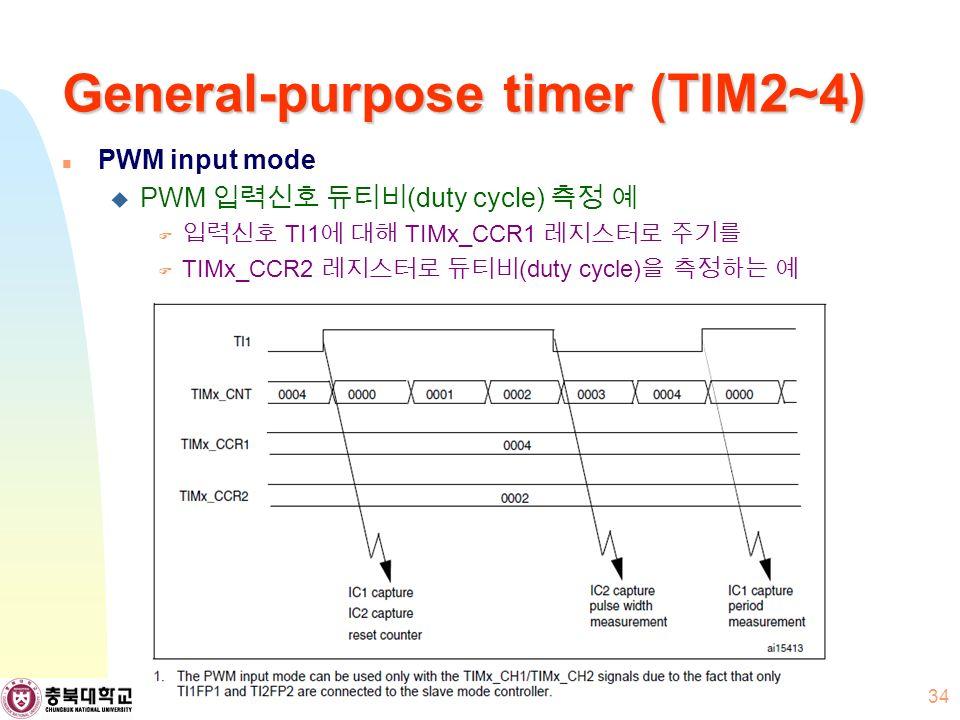 General-purpose timer (TIM2~4) PWM input mode  PWM 입력신호 듀티비 (duty cycle) 측정 예  입력신호 TI1 에 대해 TIMx_CCR1 레지스터로 주기를  TIMx_CCR2 레지스터로 듀티비 (duty cycle) 을 측정하는 예 34