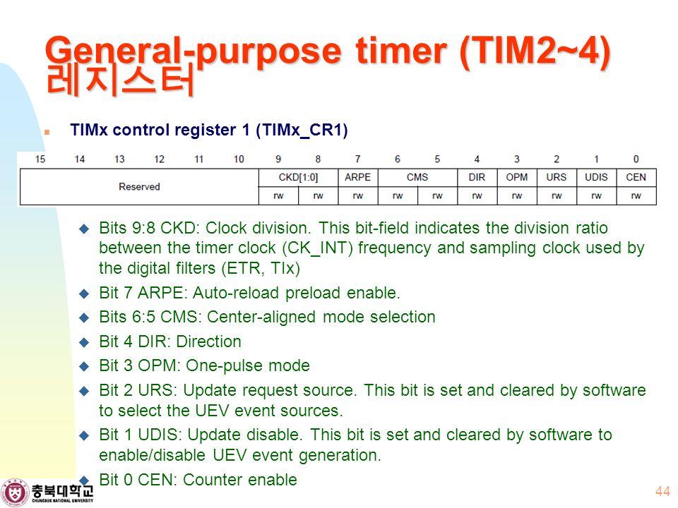 General-purpose timer (TIM2~4) 레지스터 TIMx control register 1 (TIMx_CR1)  Bits 9:8 CKD: Clock division.
