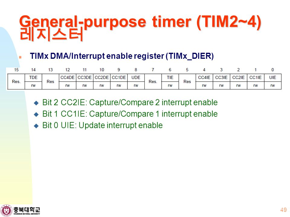General-purpose timer (TIM2~4) 레지스터 TIMx DMA/Interrupt enable register (TIMx_DIER)  Bit 2 CC2IE: Capture/Compare 2 interrupt enable  Bit 1 CC1IE: Capture/Compare 1 interrupt enable  Bit 0 UIE: Update interrupt enable 49