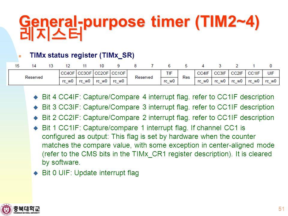 General-purpose timer (TIM2~4) 레지스터 TIMx status register (TIMx_SR)  Bit 4 CC4IF: Capture/Compare 4 interrupt flag.