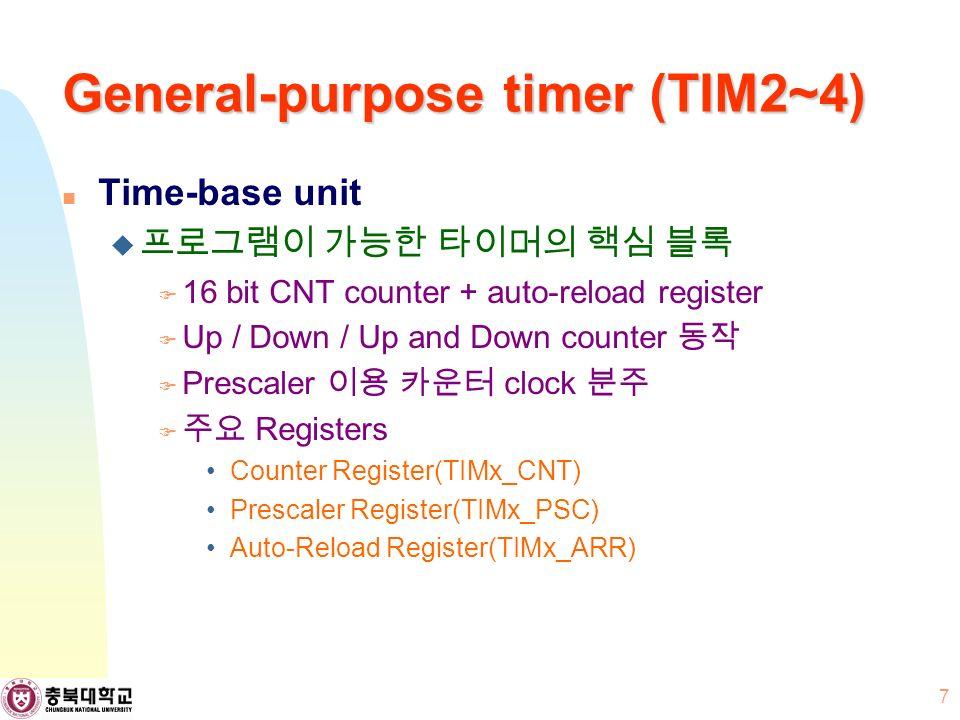 Time-base unit  프로그램이 가능한 타이머의 핵심 블록  16 bit CNT counter + auto-reload register  Up / Down / Up and Down counter 동작  Prescaler 이용 카운터 clock 분주  주요 Registers Counter Register(TIMx_CNT) Prescaler Register(TIMx_PSC) Auto-Reload Register(TIMx_ARR) 7