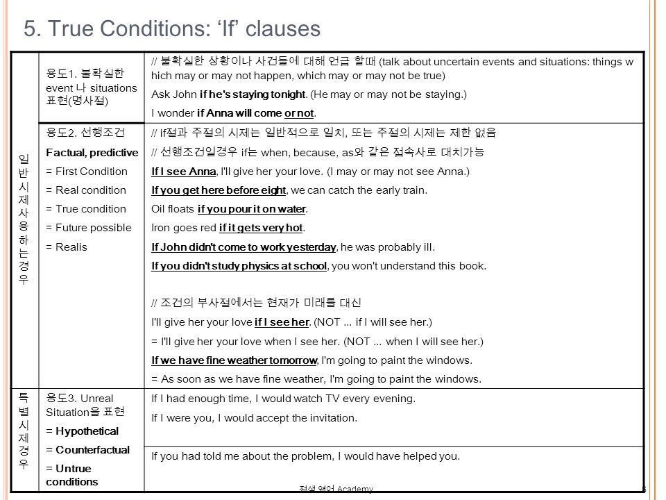 정샘 영어 Academy 8 5. True Conditions: 'If' clauses 일반시제사용하는경우일반시제사용하는경우 용도 1.