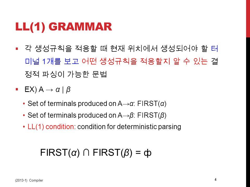 LL(1) GRAMMAR  각 생성규칙을 적용할 때 현재 위치에서 생성되어야 할 터 미널 1 개를 보고 어떤 생성규칙을 적용할지 알 수 있는 결 정적 파싱이 가능한 문법  EX) A → α | β Set of terminals produced on A→α: FIRST(α) Set of terminals produced on A→β: FIRST(β) LL(1) condition: condition for deterministic parsing FIRST(α) ∩ FIRST(β) = ф (2013-1) Compiler 4