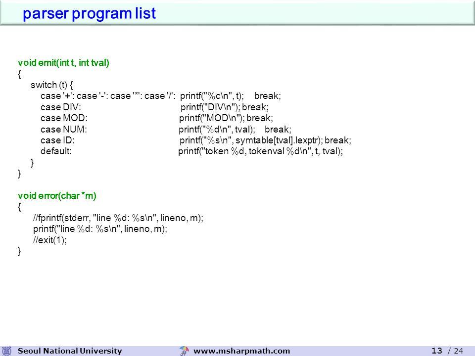 www.msharpmath.comSeoul National University 13 / 24 void emit(int t, int tval) { switch (t) { case + : case - : case * : case / : printf( %c\n , t); break; case DIV: printf( DIV\n ); break; case MOD: printf( MOD\n ); break; case NUM: printf( %d\n , tval); break; case ID: printf( %s\n , symtable[tval].lexptr); break; default: printf( token %d, tokenval %d\n , t, tval); } void error(char *m) { //fprintf(stderr, line %d: %s\n , lineno, m); printf( line %d: %s\n , lineno, m); //exit(1); } parser program list