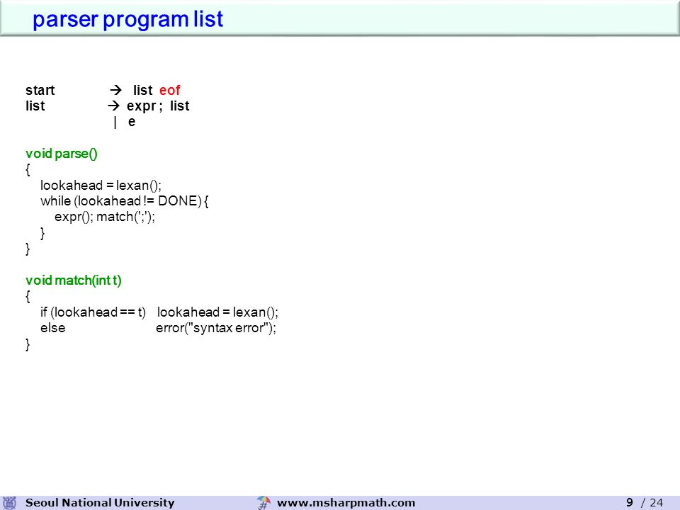 www.msharpmath.comSeoul National University 9 / 24 start  list eof list  expr ; list | e void parse() { lookahead = lexan(); while (lookahead != DONE) { expr(); match( ; ); } void match(int t) { if (lookahead == t) lookahead = lexan(); else error( syntax error ); } parser program list