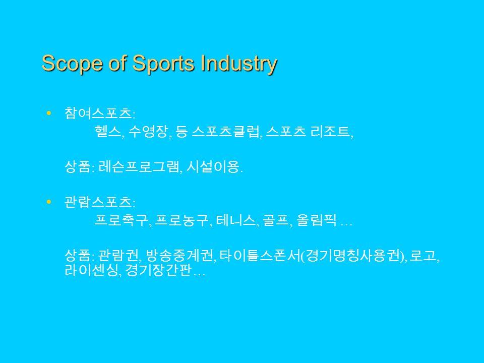 Scope of Sports Industry 참여스포츠 : 헬스, 수영장, 등 스포츠클럽, 스포츠 리조트, 상품 : 레슨프로그램, 시설이용.