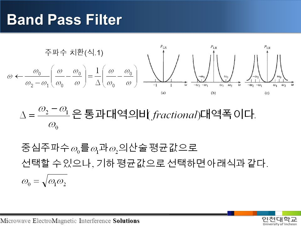 Microwave ElectroMagnetic Interference Solutions Band Pass Filter 주파수 치환 ( 식.1)