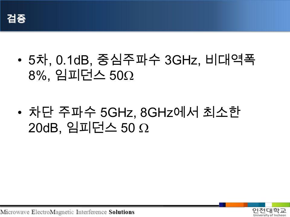 5 차, 0.1dB, 중심주파수 3GHz, 비대역폭 8%, 임피던스 50Ω 차단 주파수 5GHz, 8GHz 에서 최소한 20dB, 임피던스 50 Ω 검증