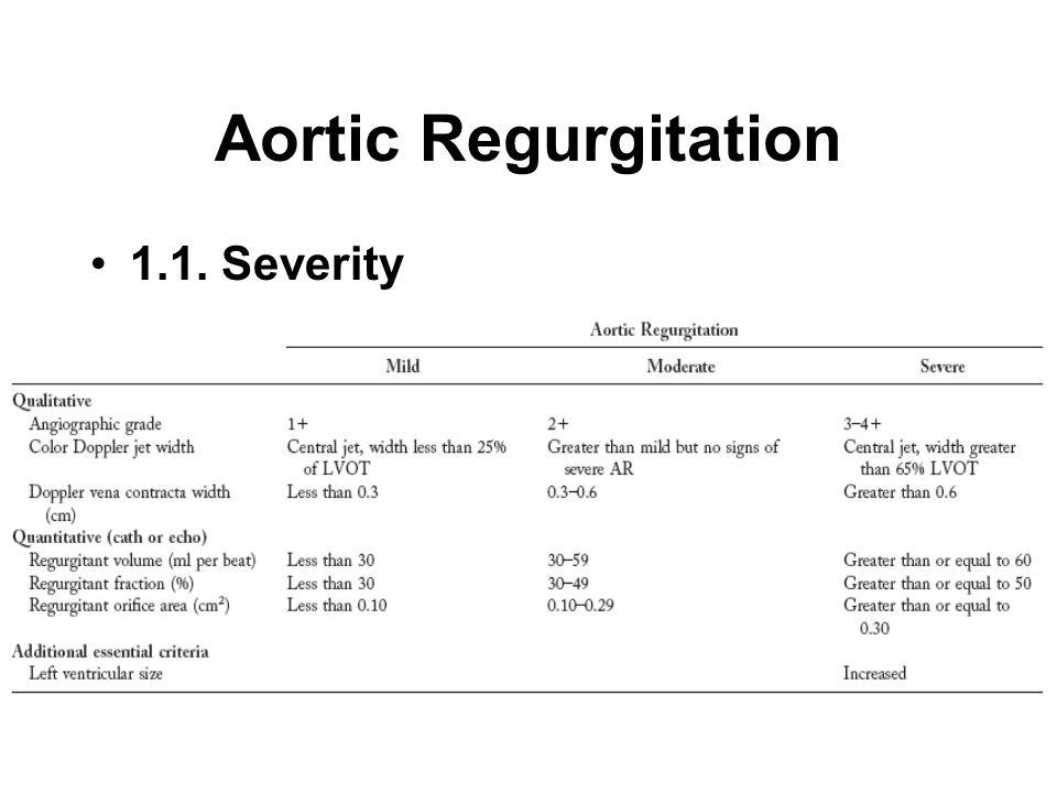 Aortic Regurgitation 1.1. Severity