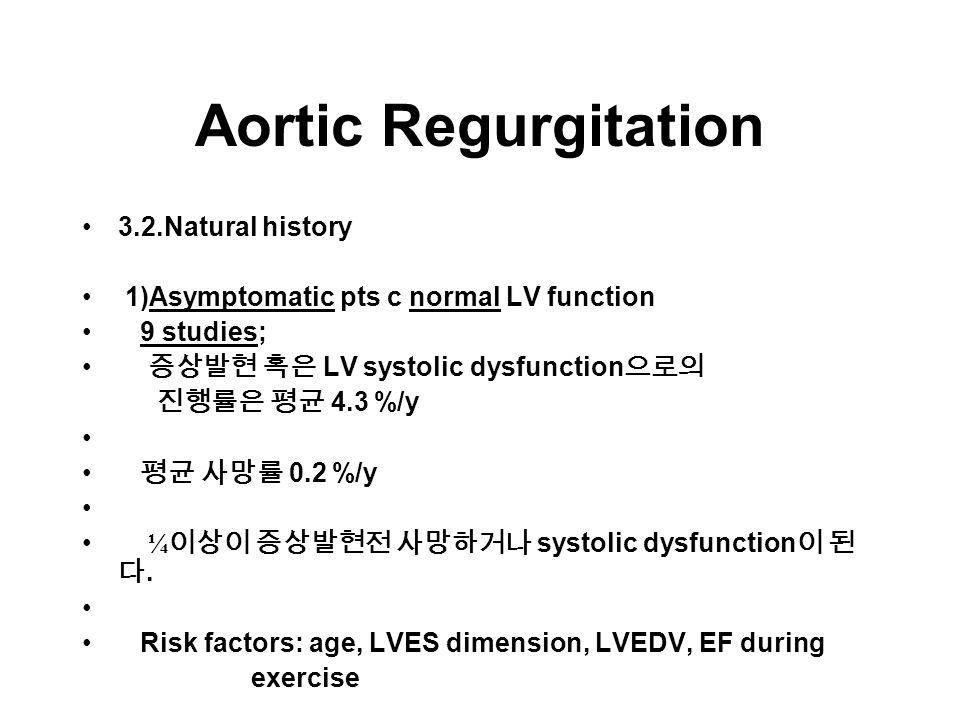 Aortic Regurgitation 3.2.Natural history 1)Asymptomatic pts c normal LV function 9 studies; 증상발현 혹은 LV systolic dysfunction 으로의 진행률은 평균 4.3 %/y 평균 사망률 0.2 %/y ¼ 이상이 증상발현전 사망하거나 systolic dysfunction 이 된 다.