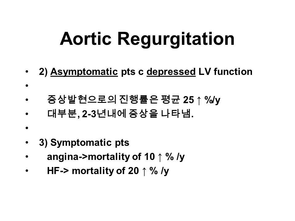 Aortic Regurgitation 2) Asymptomatic pts c depressed LV function 증상발현으로의 진행률은 평균 25 ↑ %/y 대부분, 2-3 년내에 증상을 나타냄.