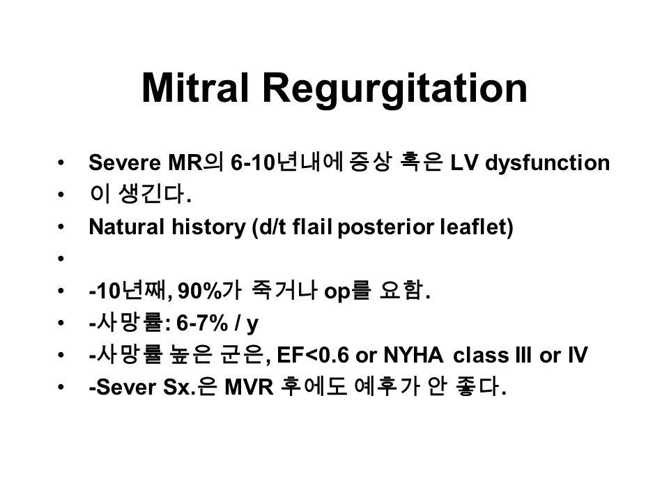 Mitral Regurgitation Severe MR 의 6-10 년내에 증상 혹은 LV dysfunction 이 생긴다.