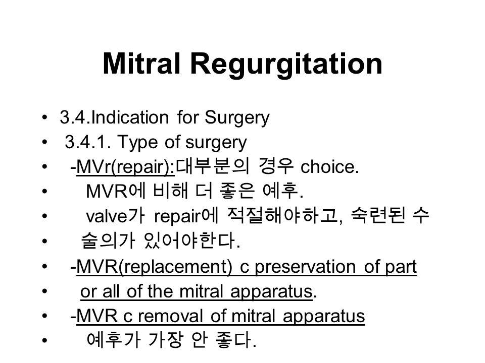 Mitral Regurgitation 3.4.Indication for Surgery 3.4.1.