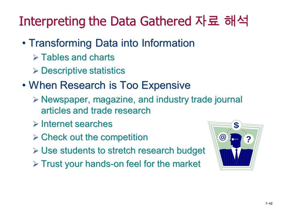 Interpreting the Data Gathered 자료 해석 7–42
