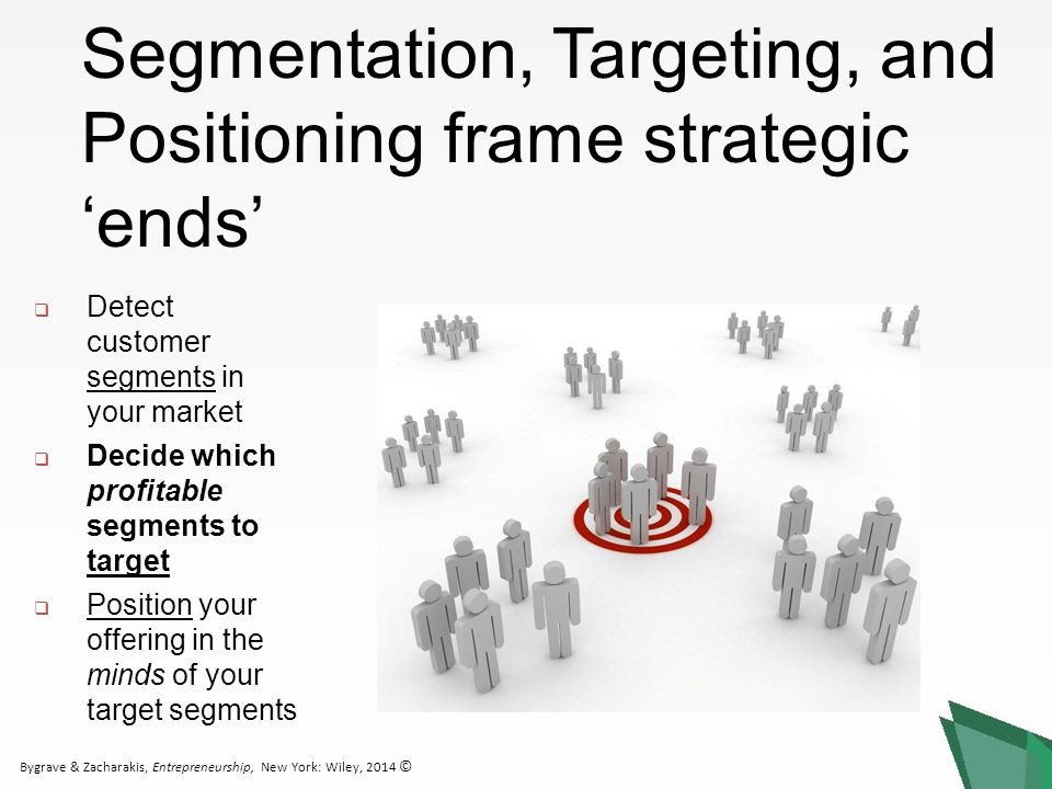 Bygrave & Zacharakis, Entrepreneurship, New York: Wiley, 2014 ©  Detect customer segments in your market  Decide which profitable segments to target  Position your offering in the minds of your target segments Segmentation, Targeting, and Positioning frame strategic 'ends'