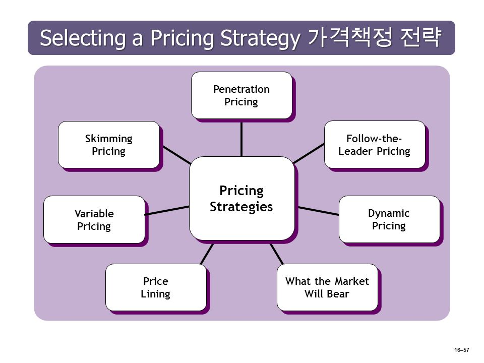 Selecting a Pricing Strategy 가격책정 전략 16–57 Penetration Pricing Follow-the- Leader Pricing Dynamic Pricing What the Market Will Bear Price Lining Variable Pricing Skimming Pricing Pricing Strategies
