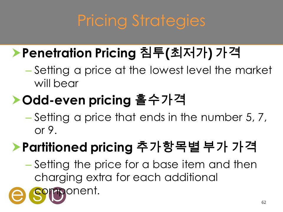 Pricing Strategies  Penetration Pricing 침투 ( 최저가 ) 가격 – Setting a price at the lowest level the market will bear  Odd-even pricing 홀수가격 – Setting a price that ends in the number 5, 7, or 9.