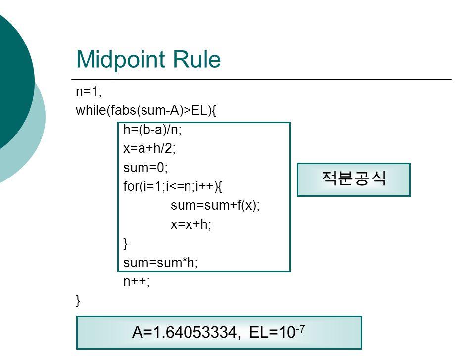 Midpoint Rule n=1; while(fabs(sum-A)>EL){ h=(b-a)/n; x=a+h/2; sum=0; for(i=1;i<=n;i++){ sum=sum+f(x); x=x+h; } sum=sum*h; n++; } 적분공식 A=1.64053334, EL=10 -7