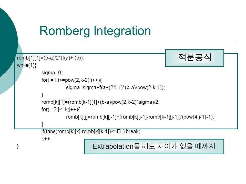 Romberg Integration romb[1][1]=(b-a)/2*(f(a)+f(b)); while(1){ sigma=0; for(i=1;i<=pow(2,k-2);i++){ sigma=sigma+f(a+(2*i-1)*(b-a)/pow(2,k-1)); } romb[k][1]=(romb[k-1][1]+(b-a)/pow(2,k-2)*sigma)/2; for(j=2;j<=k;j++){ romb[k][j]=romb[k][j-1]+(romb[k][j-1]-romb[k-1][j-1])/(pow(4,j-1)-1); } if(fabs(romb[k][k]-romb[k][k-1])<=EL) break; k++; } 적분공식 Extrapolation 을 해도 차이가 없을 때까지