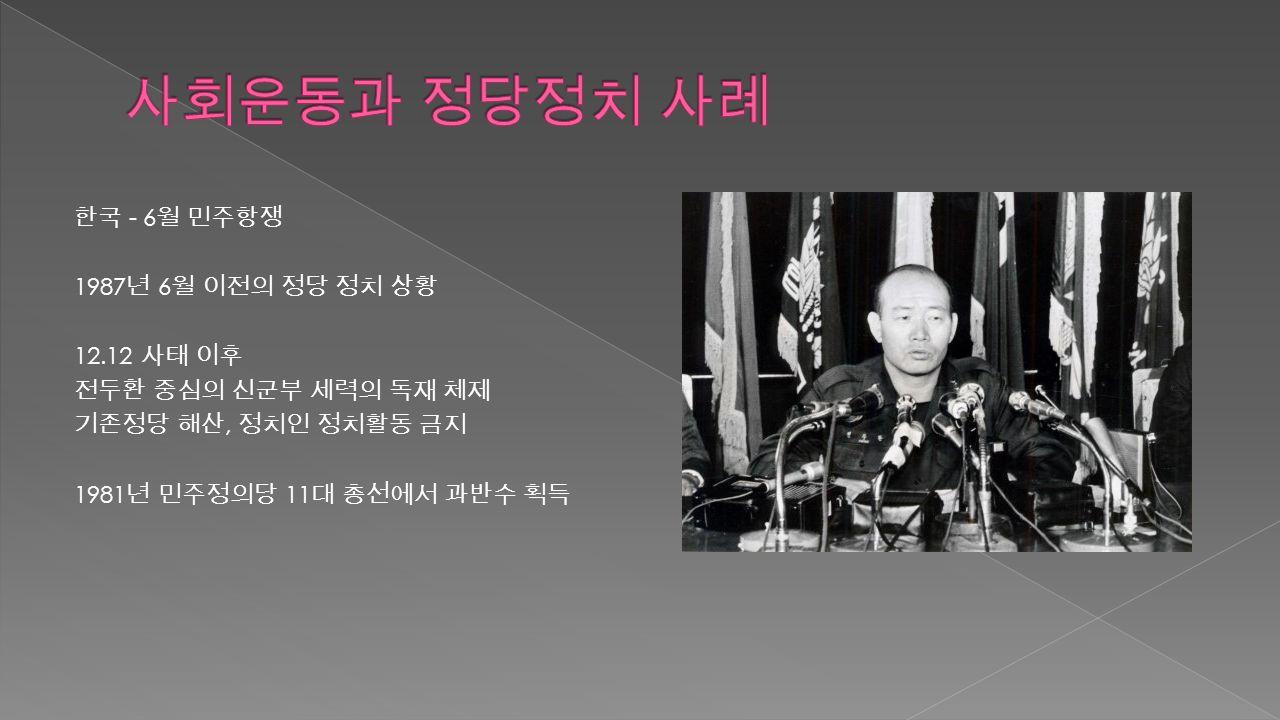 한국 - 6 월 민주항쟁 1987 년 6 월 이전의 정당 정치 상황 12.12 사태 이후 전두환 중심의 신군부 세력의 독재 체제 기존정당 해산, 정치인 정치활동 금지 1981 년 민주정의당 11 대 총선에서 과반수 획득