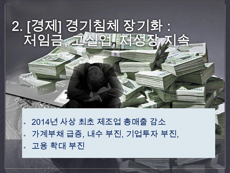 2. [ 경제 ] 경기침체 장기화 : 저임금, 고실업, 저성장 지속 2.