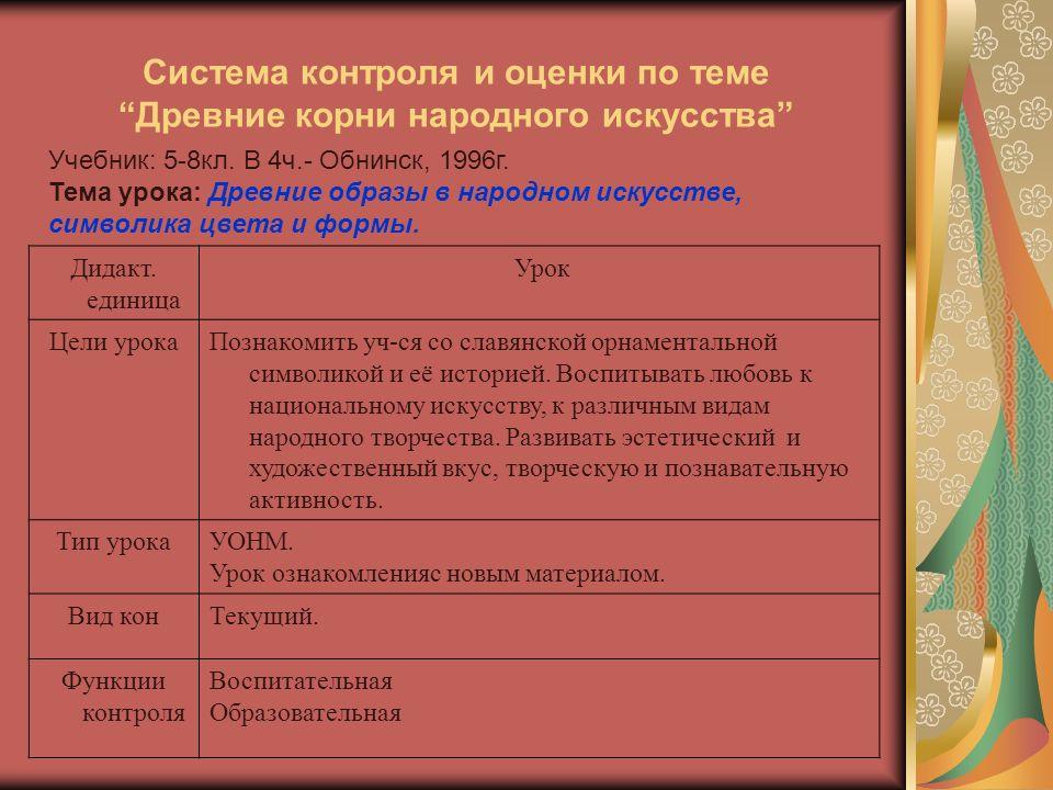 Система контроля и оценки по теме Древние корни народного искусства Учебник: 5-8кл.