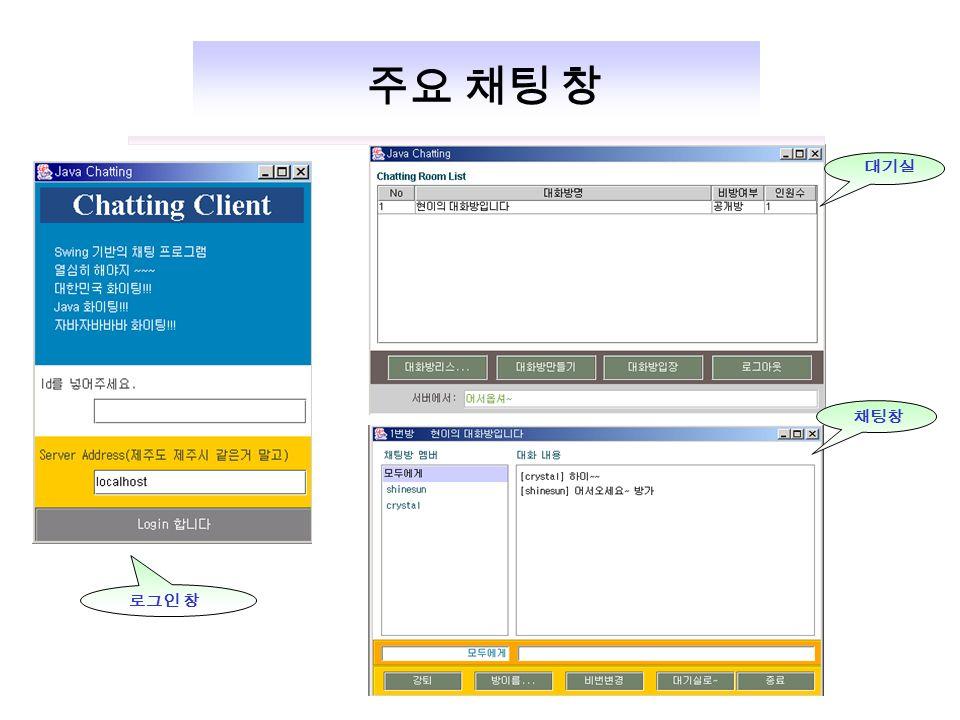 주요 채팅 창 로그인 창 채팅창 대기실