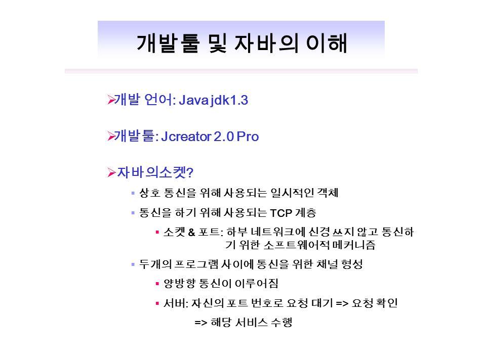  개발 언어 : Java jdk1.3  개발툴 : Jcreator 2.0 Pro  자바의소켓 .