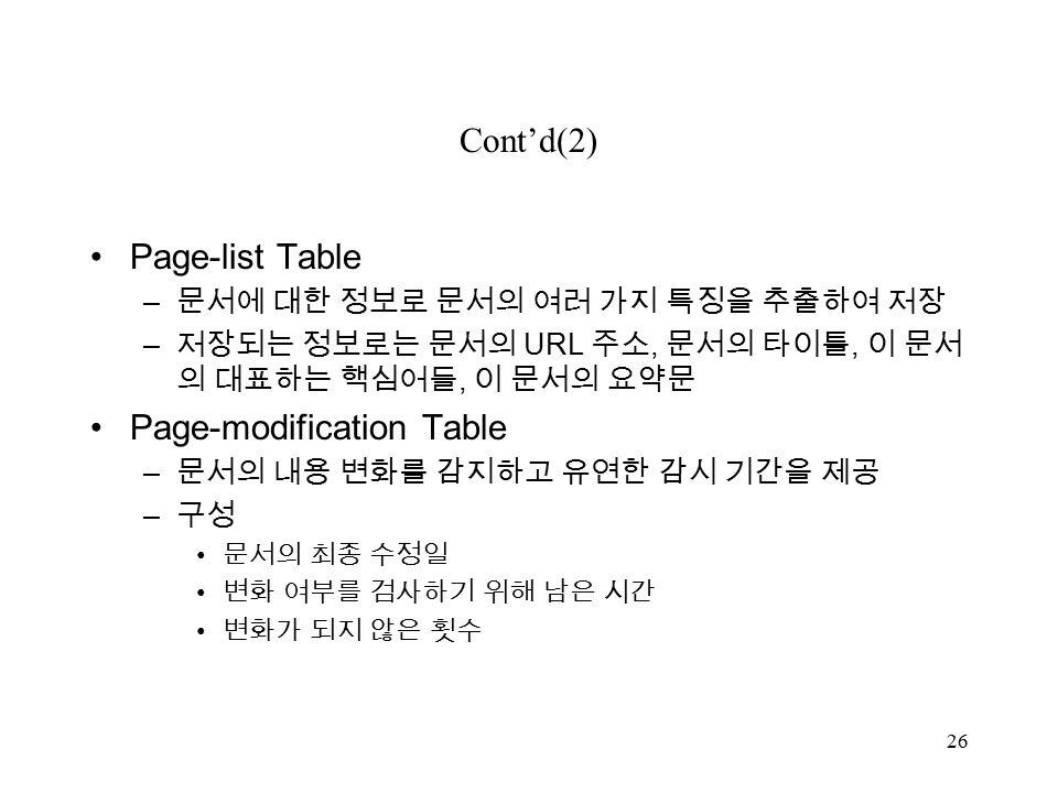 26 Cont'd(2) Page-list Table – 문서에 대한 정보로 문서의 여러 가지 특징을 추출하여 저장 – 저장되는 정보로는 문서의 URL 주소, 문서의 타이틀, 이 문서 의 대표하는 핵심어들, 이 문서의 요약문 Page-modification Table – 문서의 내용 변화를 감지하고 유연한 감시 기간을 제공 – 구성 문서의 최종 수정일 변화 여부를 검사하기 위해 남은 시간 변화가 되지 않은 횟수