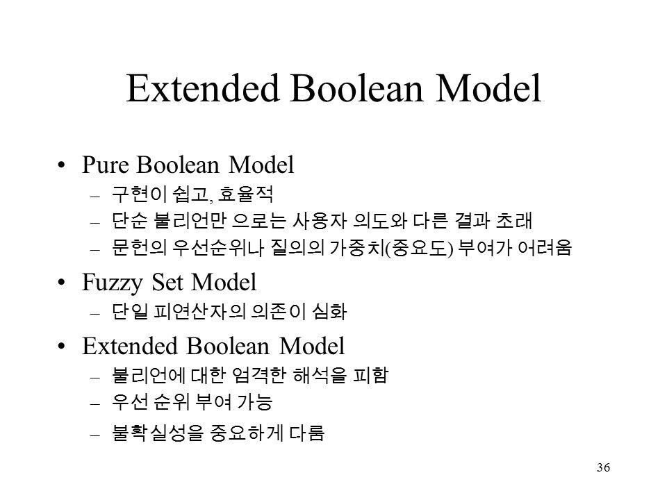 36 Extended Boolean Model Pure Boolean Model – 구현이 쉽고, 효율적 – 단순 불리언만 으로는 사용자 의도와 다른 결과 초래 – 문헌의 우선순위나 질의의 가중치 ( 중요도 ) 부여가 어려움 Fuzzy Set Model – 단일 피연산자의 의존이 심화 Extended Boolean Model – 불리언에 대한 엄격한 해석을 피함 – 우선 순위 부여 가능 – 불확실성을 중요하게 다룸