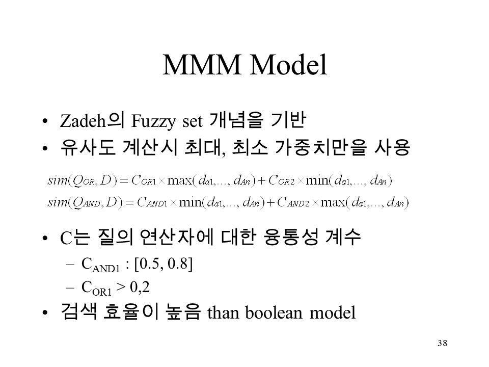 38 MMM Model Zadeh 의 Fuzzy set 개념을 기반 유사도 계산시 최대, 최소 가중치만을 사용 C 는 질의 연산자에 대한 융통성 계수 –C AND1 : [0.5, 0.8] –C OR1 > 0,2 검색 효율이 높음 than boolean model