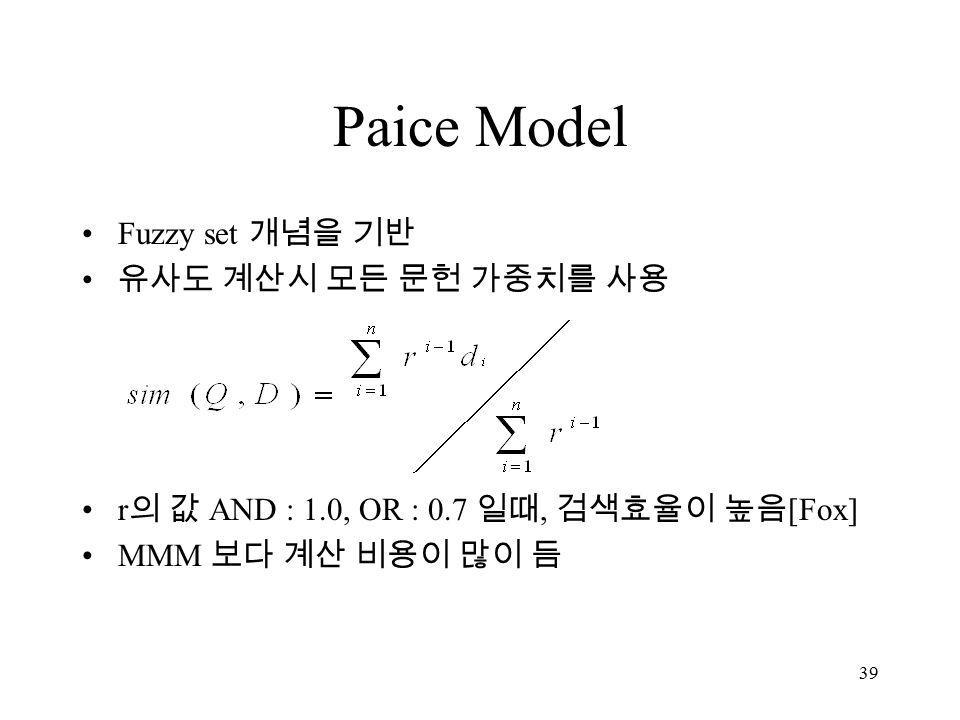 39 Paice Model Fuzzy set 개념을 기반 유사도 계산시 모든 문헌 가중치를 사용 r 의 값 AND : 1.0, OR : 0.7 일때, 검색효율이 높음 [Fox] MMM 보다 계산 비용이 많이 듬