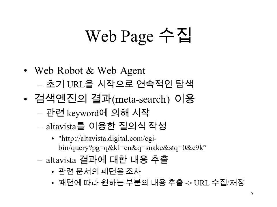 5 Web Page 수집 Web Robot & Web Agent – 초기 URL 을 시작으로 연속적인 탐색 검색엔진의 결과 (meta-search) 이용 – 관련 keyword 에 의해 시작 –altavista 를 이용한 질의식 작성 http://altavista.digital.com/cgi- bin/query pg=q&kl=en&q=snake&stq=0&c9k –altavista 결과에 대한 내용 추출 관련 문서의 패턴을 조사 패턴에 따라 원하는 부분의 내용 추출 -> URL 수집 / 저장