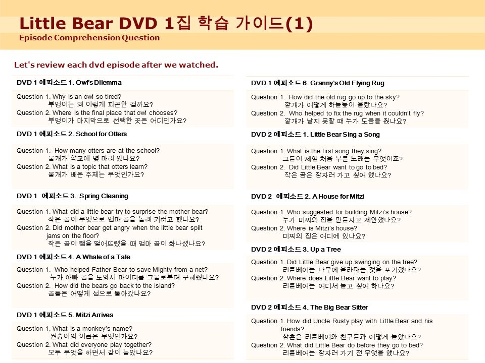 Little Bear DVD 1 집 학습 가이드 (1) Episode Comprehension Question Let s review each dvd episode after we watched.