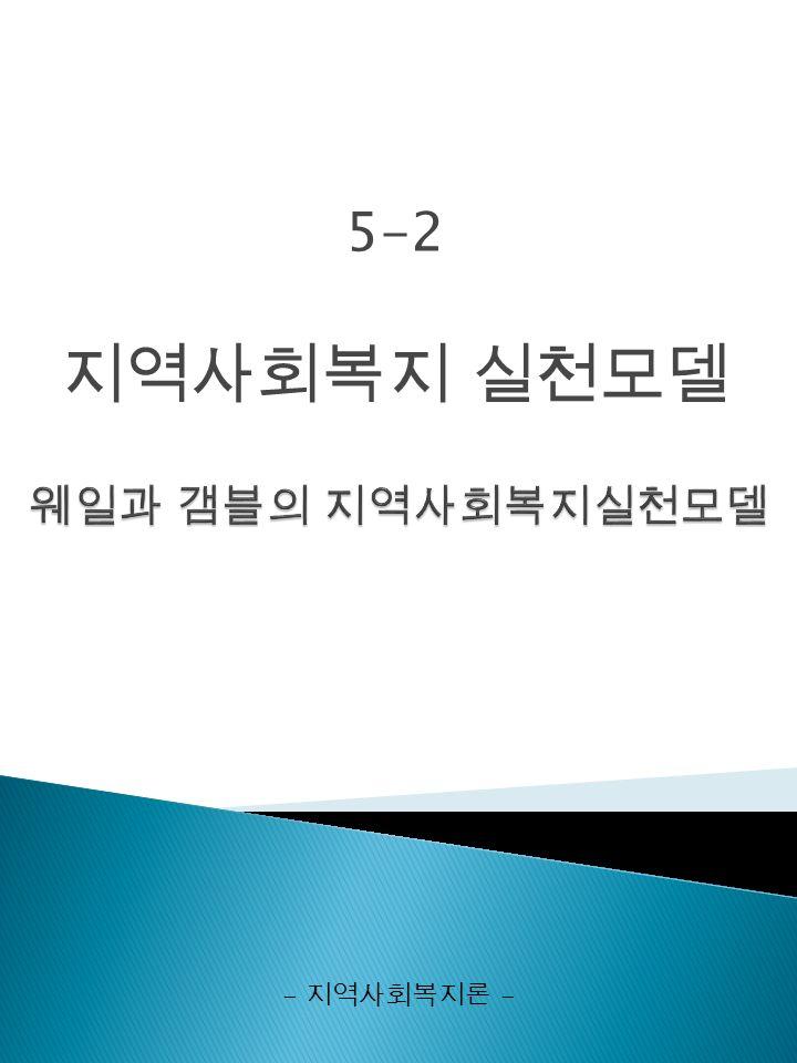 5-2 지역사회복지 실천모델 - 지역사회복지론 -