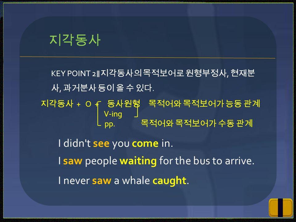 KEY POINT 2 ∥지각동사의 목적보어로 원형부정사, 현재분 사, 과거분사 등이 올 수 있다.