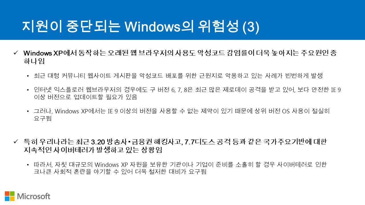 지원이 중단되는 Windows 의 위험성 (3) Windows XP 에서 동작하는 오래된 웹 브라우저의 사용도 악성코드 감염률이 더욱 높아지는 주요원인 중 하나임 최근 대형 커뮤니티 웹사이트 게시판을 악성코드 배포를 위한 근원지로 악용하고 있는 사례가 빈번하게 발생 인터넷 익스플로러 웹브라우저의 경우에도 구 버전 6, 7, 8 은 최근 많은 제로데이 공격을 받고 있어, 보다 안전한 IE 9 이상 버전으로 업데이트할 필요가 있음 그러나, Windows XP 에서는 IE 9 이상의 버전을 사용할 수 없는 제약이 있기 때문에 상위 버전 OS 사용이 절실히 요구됨 특히 우리나라는 최근 3.20 방송사▪금융권 해킹사고, 7.7 디도스 공격 등과 같은 국가주요기반에 대한 지속적인 사이버테러가 발생하고 있는 상황임 따라서, 자칫 대규모의 Windows XP 자원을 보유한 기관이나 기업이 준비를 소홀히 할 경우 사이버테러로 인한 크나큰 사회적 혼란을 야기할 수 있어 더욱 철저한 대비가 요구됨