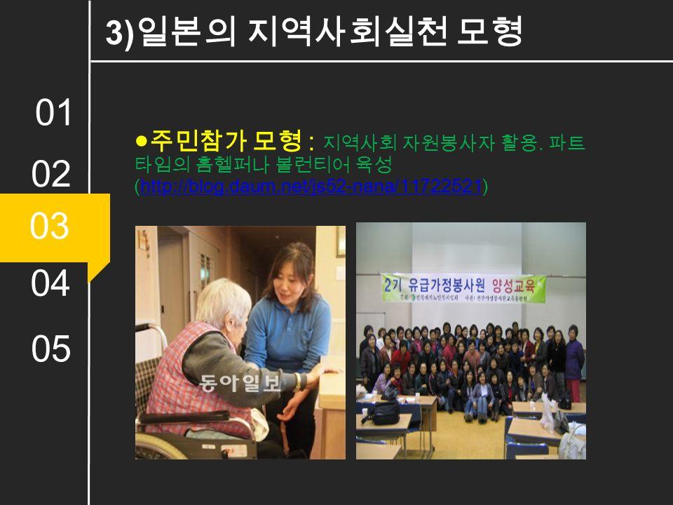01 02 03 04 05 ●주민참가 모형 : 지역사회 자원봉사자 활용.