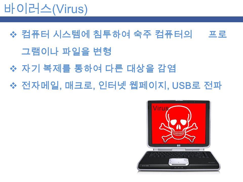 바이러스 (Virus)  컴퓨터 시스템에 침투하여 숙주 컴퓨터의 프로 그램이나 파일을 변형  자기 복제를 통하여 다른 대상을 감염  전자메일, 매크로, 인터넷 웹페이지, USB 로 전파