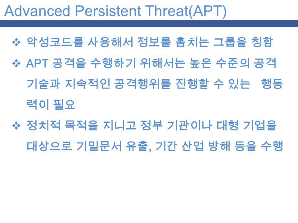 Advanced Persistent Threat(APT)  악성코드를 사용해서 정보를 훔치는 그룹을 칭함  APT 공격을 수행하기 위해서는 높은 수준의 공격 기술과 지속적인 공격행위를 진행할 수 있는 행동 력이 필요  정치적 목적을 지니고 정부 기관이나 대형 기업을 대상으로 기밀문서 유출, 기간 산업 방해 등을 수행