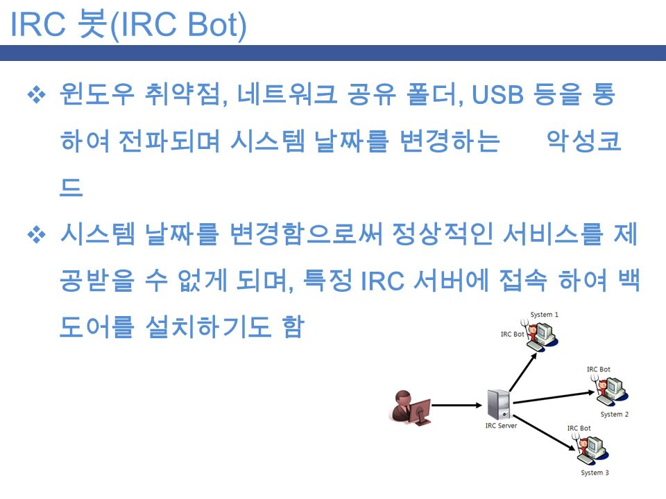 IRC 봇 (IRC Bot)  윈도우 취약점, 네트워크 공유 폴더, USB 등을 통 하여 전파되며 시스템 날짜를 변경하는 악성코 드  시스템 날짜를 변경함으로써 정상적인 서비스를 제 공받을 수 없게 되며, 특정 IRC 서버에 접속 하여 백 도어를 설치하기도 함